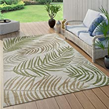 Alfombra De Tejido Plano Interior Y Exterior Moderna Jungla Diseño Palmeras Verde Pastel, tamaño:160x220 cm