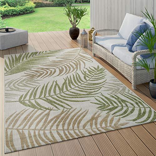 Paco Home In- & Outdoor Teppich Flachgewebe Modern Jungle Palmen Design In Pastell Grün, Grösse:120x160 cm