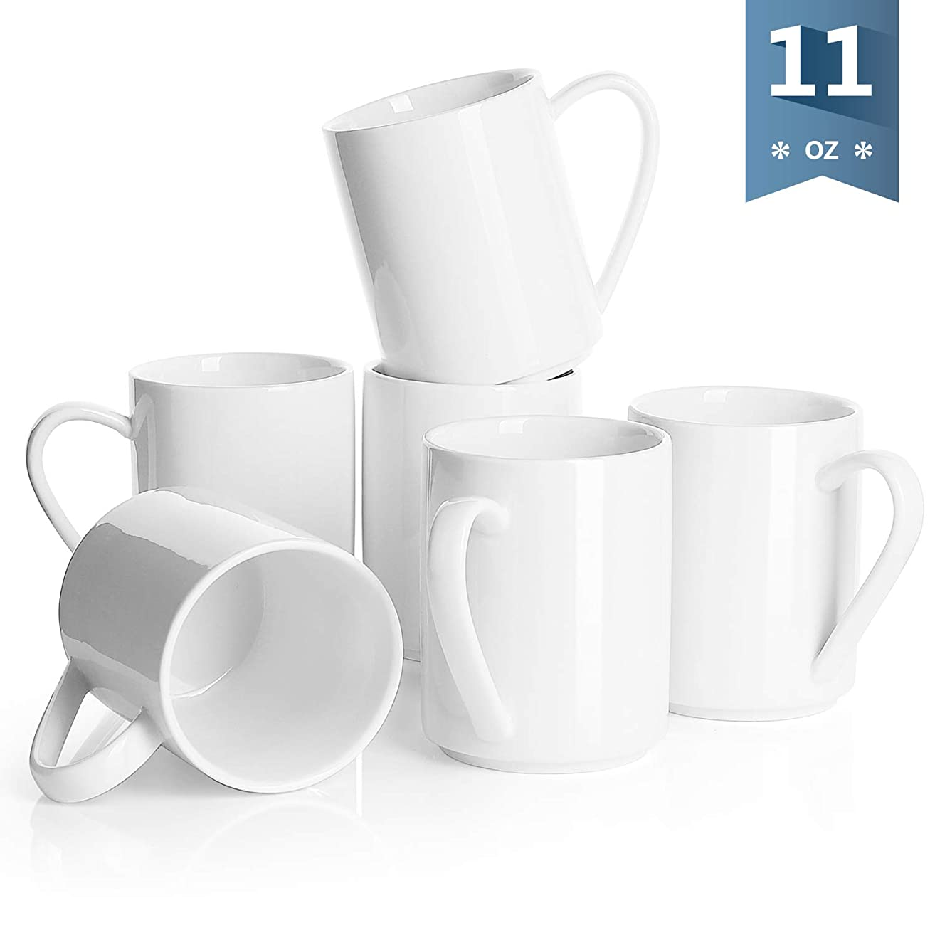 Sweese 6212 Porcelain Coffee Mug Set - 11 Ounce for Coffee, Tea, Cocoa and Mulled Drinks - Set of 6, White