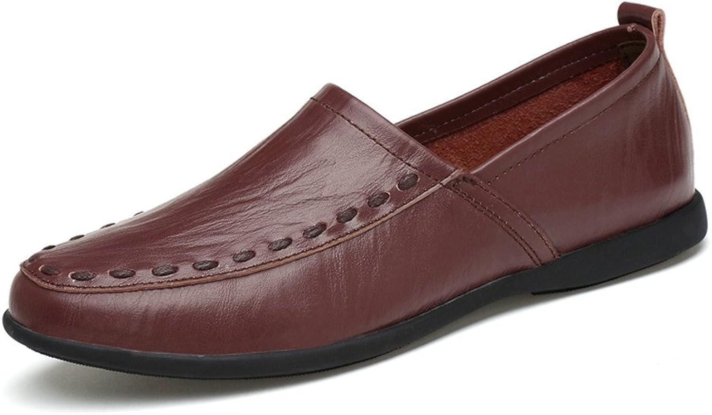 QianHaoQJu Herrenmode Echtes Leder Atmungsaktive Mokassins Slip On Schuhe Wildleder Wildleder Wildleder Einlegesohle Loafer (Farbe   Dark braun Breathable Style, Größe   40 EU) 6fb