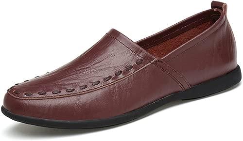 DuoShengZhTG Herrenmode Echtes Leder Atmungsaktive Mokassins Slip On Schuhe Wildleder Einlegesohle Loafer (Farbe   Dark braun Breathable Style, Größe   37 EU)