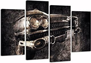 sechars - 4 Panel Car Pictures Wall Art Framed Old American Car in Brown Retro Style Poster Canvas Print Vintage Western Decor for Home Office Living Room Man Bedroom