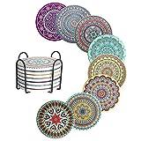 Pulchram 8 Pack Untersetzer Gläser Absorbierenden Keramik mit Halter,Mandala Keramik Untersetzer mit Korkbasis, Wiederverwendbar Untersetzer Kork,Dekorative Glasuntersetzer für Glas,Tassen,Vasen