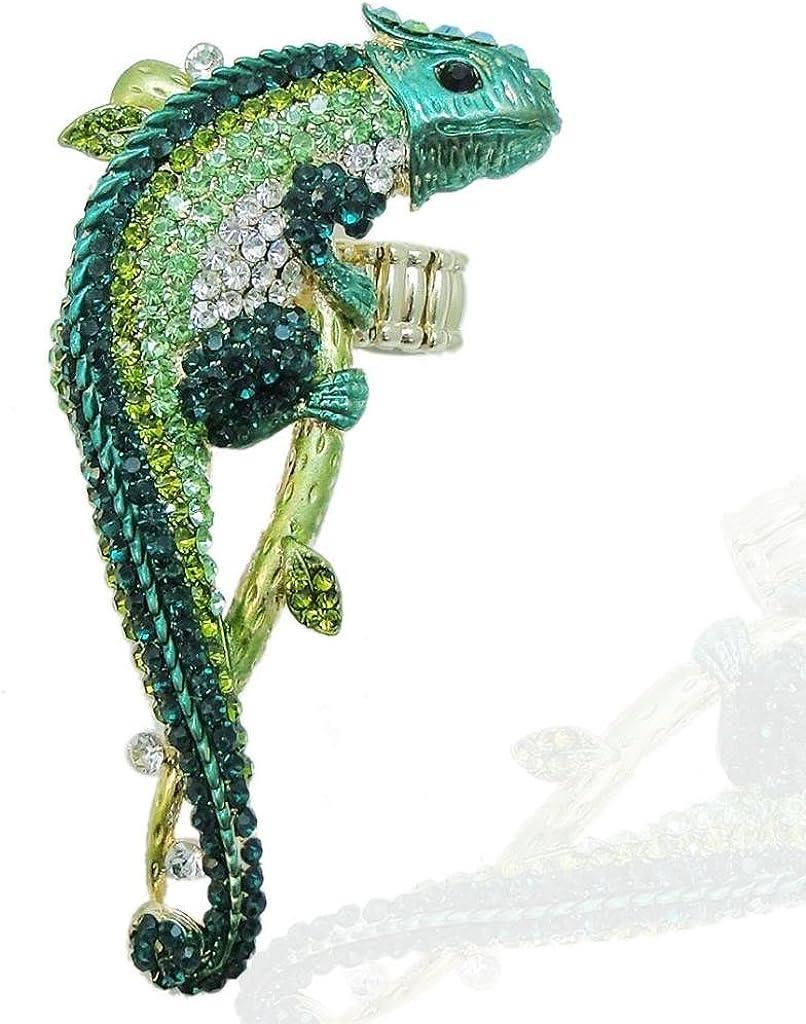 EVER FAITH Gold-Tone Chameleon Austrian Crystal Animal Stretch Adjustable Ring
