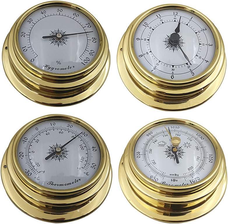 QLING Conjunto estación meteorológica 4 Piezas Medidor Barómetro preciso Reloj Herramienta Termómetro grómetro Mini Barco Marina Kit Accesorios montado en la Pared Portátil 98mm