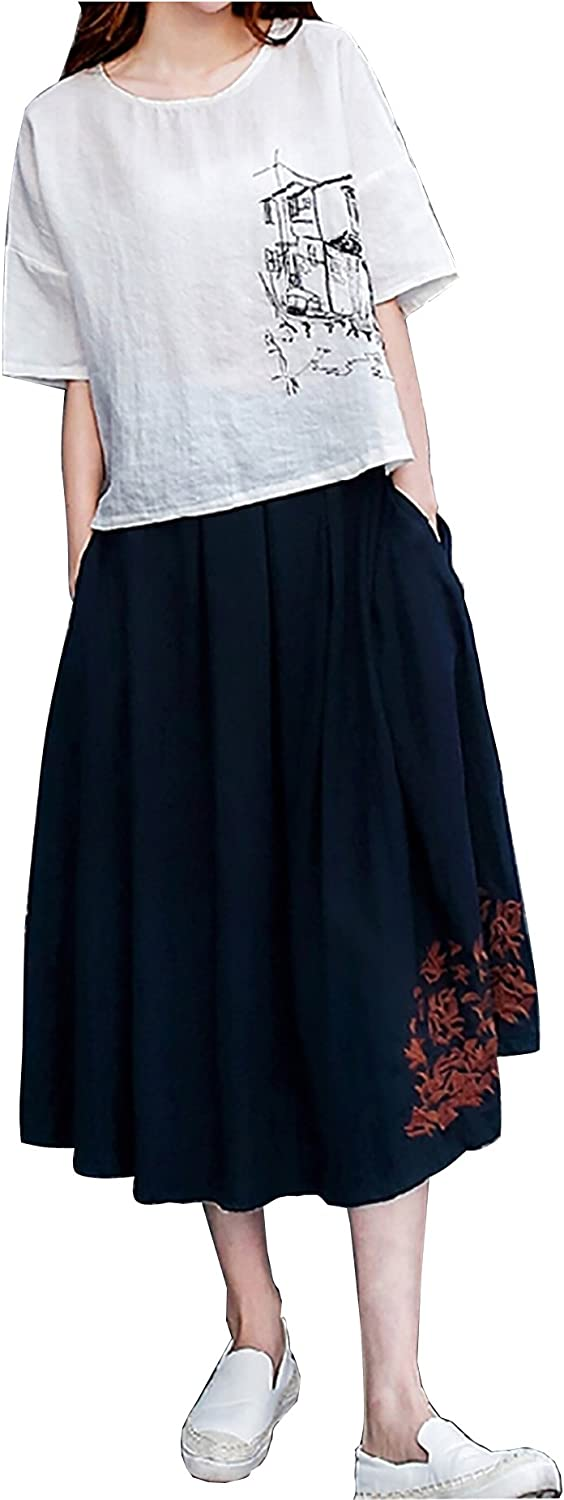 Muke Ladies Printing Embroidery Loose Cotton Linen Skirt Two Piece Set