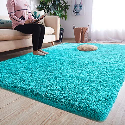 Noahas Luxury Fluffy Rugs Ultra Soft Shag Rug for Bedroom Living Room Kids Room Child and Girls Shaggy Furry Floor Carpet Nursery Rugs Modern Indoor Home Decorative 4 ft x 53 ft Teal Blue