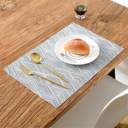 RAILONCH Juego de 6 manteles individuales de PVC, antideslizantes, resistentes al calor, para cocina, restaurante, mesa de comedor, hotel, color gris
