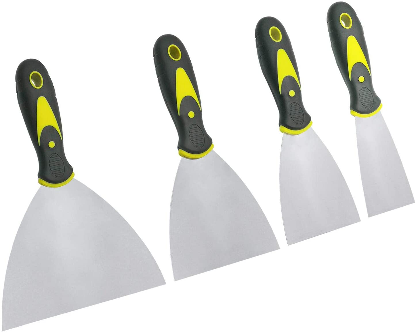 Listenman Putty Knife Set, 4 PCS (2, 3, 4, 6 inch) Spackle Putty Knives, Metal Scrapers, Putty Scrapers for Drywall, Putty, Decals, Wallpaper, Baking, Patching and Painting - -