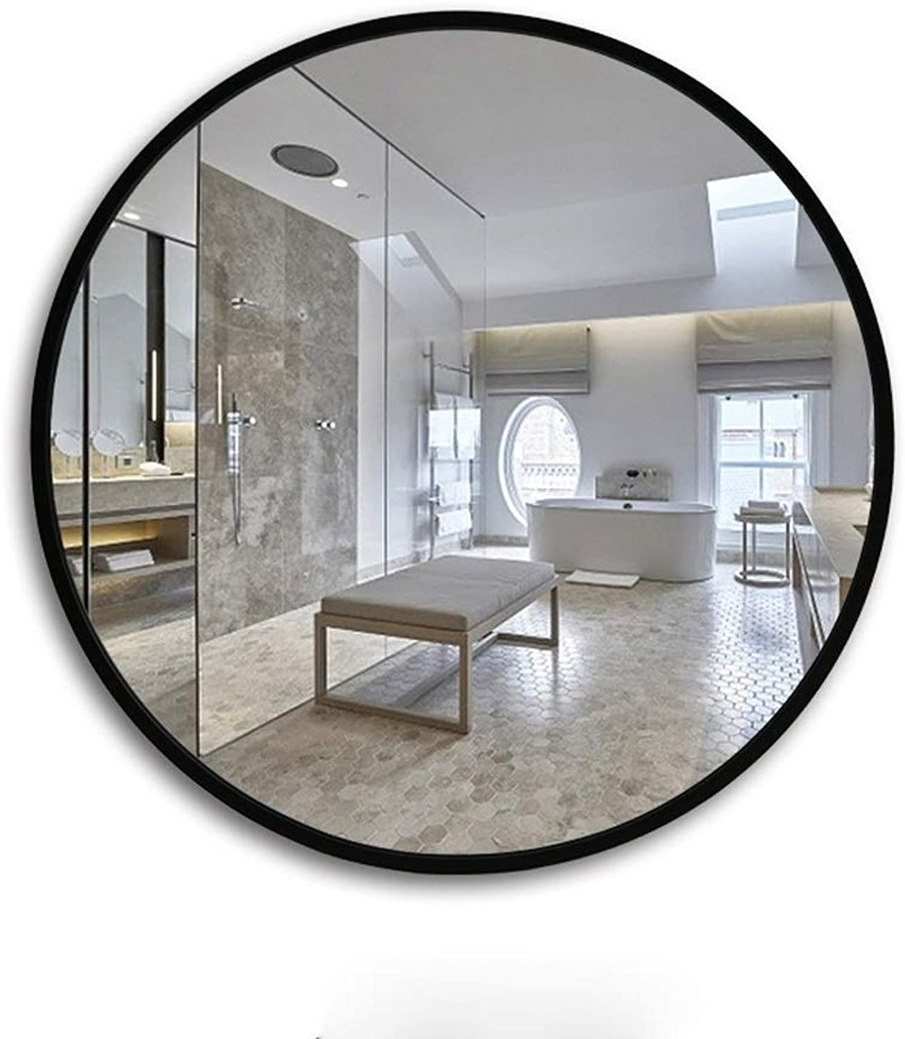 HELIn Wood Circle Frame Wall Mirror   Contemporary Premium Silver Backed Floating Round Glass Panel   Vanity, Bedroom, or Bathroom   Hanging (color   Black, Size   50CM50CM)