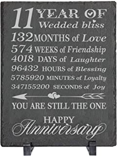 BELLA BUSTA- 11 Years 11 Years of Wedded Bliss- Engraved Slate Decor with Plastic Feet (7 x 9 Rectangle)