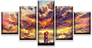 FYZKAY Cuadro en Lienzo 5 Partes Decoración para el hogar Anime Movie Your Name Poster HD Impreso Imágenes Living Room Wall Art Sin Marco