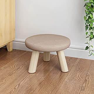 D&L Solid Wood Round Footstool Ottoman Pouffe Cute Stool for Kids Thicken Cushion 4 Legs Removable Linen Cover-D L28xW28xH19cm