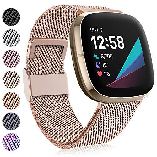 Faliogo Compatible con Fitbit Versa 3 Correa/Fitbit Sense Correa, Pulsera de Acero Inoxidable con Correa de Repuesto de Metal con Bloqueo Magnético único para Fitbit Versa 3/Sense, Pequeños Oro Real