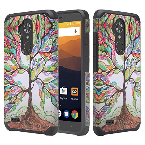 GALAXY WIRELESS Compatible for ZTE Max XL Case,ZTE Blade Max 3 Case,ZTE Max Blue 4G LTE (Z986DL) [Impact Resistant] Hybrid Dual Layer Protective Case Cover for ZTE Max XL/ZMax Pro 2, Colorful Tree