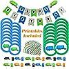 ゴミ箱 トラック パーティー用品 73ピース ゴミ箱 誕生日パーティー ゴミ受け トラックプレート付き ゴミ箱 リサイクル容器 カップケーキトッパー Happy Birthdayバナー ナプキン ボーナス印刷可能