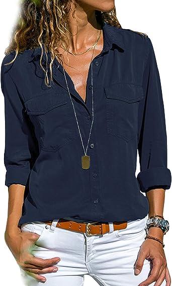 Camisas Mujer Manga Larga Camisetas y Camisas Cuello de ...