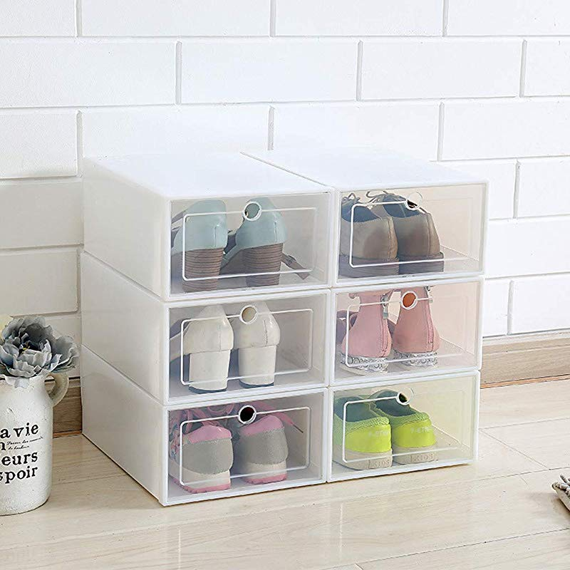 Onegirl Shoe Organizer Rack Set Of 3Pcs Foldable Stackable Plastic Shoe Box Drawer Type Small Spaces Transparent Shoe Container Home Organizer Clear Shoes Storage Case White