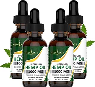 (4-Pack) Hemp Oil Extract for Pain, Anxiety & Stress Relief - 1000mg of Organic Hemp Extract - Grown & Made in USA - 100% Natural Hemp Drops - Helps with Sleep, Skin & Hair