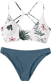 SweatyRocks Women's Sexy Bathing Suit Floral Print Cross Back Bikini Set Swimsuits