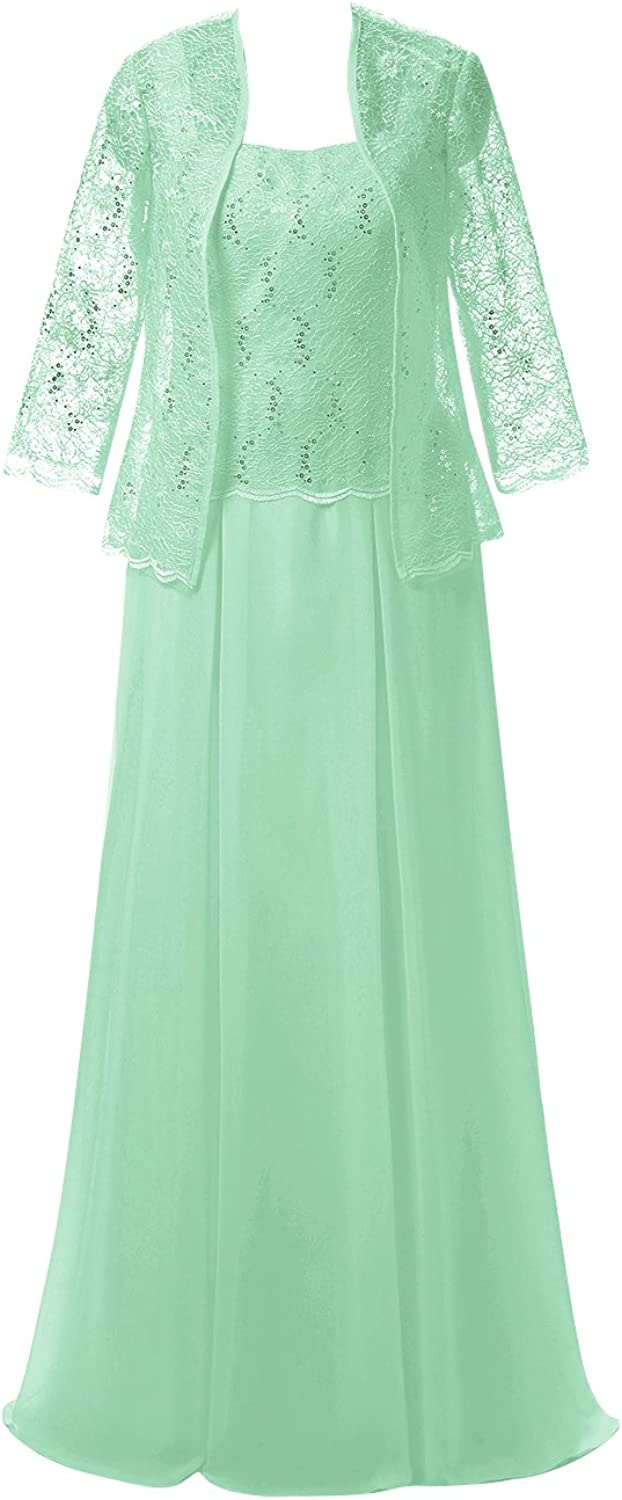 Classic Women's Plus Size Long Dress with Lace Jacket Mother of the Bride Dress Mint US16W