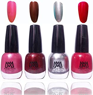 Makeup Mania Premium Nail Polish Exclusive Nail Paint Combo (Silver, Pink, Red, Pack of 4)