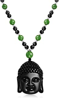Stabilized Turquoise Black Bead Carved Long Large Boho Fashion Statement Thai Buddha Pendant Necklace for Women for Men