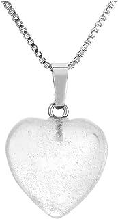 Jovivi Ciondolo da donna a forma di cuore con pietre preziose per terapia energetica e cristallo, 50,8 cm