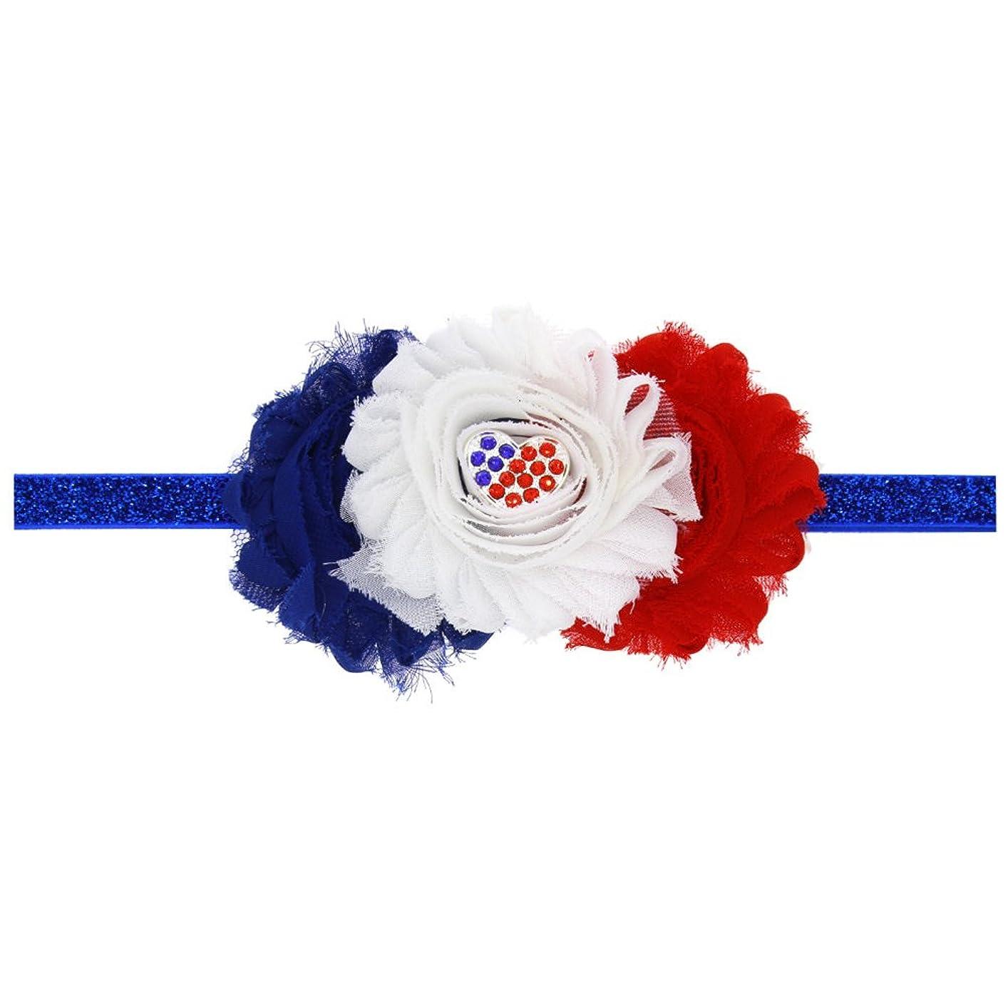 水星暗いメディカルBESTOYARD 赤ちゃんの女の子の毛のフープアメリカンフラグ愛国心のための愛国的なヘアバンドクリスタルフラワーフラワークラウンストレッチヘッドバンド