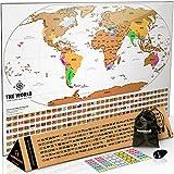 Landmass Rubbel-Weltkarte Poster – weiße Rubbelkarte der Welt mit Flaggen – lebendige Farben – 43,2 x 61 cm Deluxe Travel Tracker Karte – das Geschenk Reisende möchten