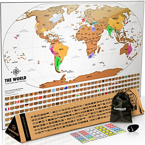 Landmass Scratch Off Map Of The World, Premium World Map Poster with Flags and Deluxe Travel Tracker Print
