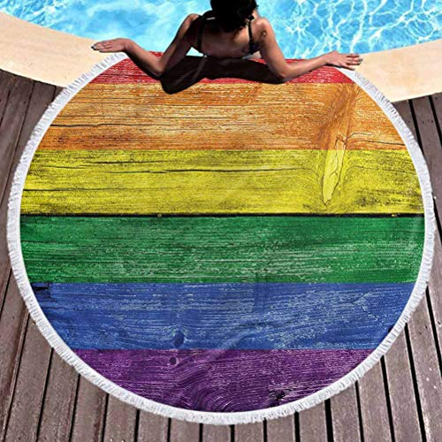 prunushome Round Beach Throw Tapestry Rainbow Multi-Purpose Beach Throw Towel Old Tainted Wooden Planks Quick Drying, Lightweight, Fast Dry Towels, Sand Free (Diameter 59')