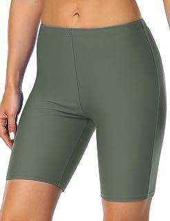 Hilor Women's UV Long Bike Shorts Rash Guard Boy Leg Swim Bottom Active Sport Capri Pants