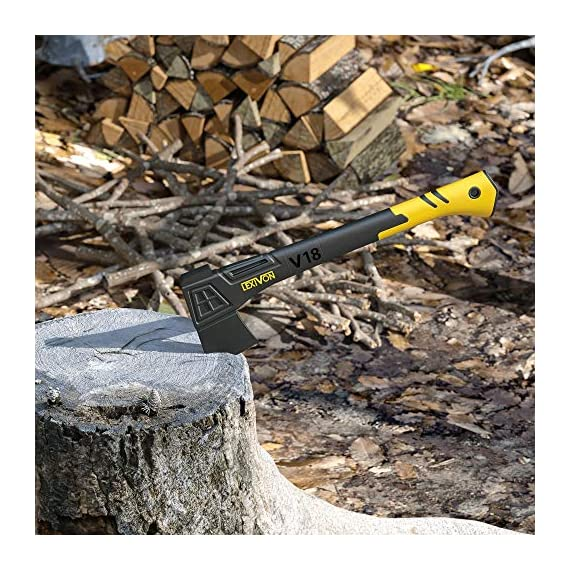 LEXIVON V18 Chopping Axe, 18-Inch Lightweight Fiber-glass Composite Handle & Ergonomic TPR Grip | Protective Carrying… 10 INNOVATIVE DESIGN - Fully encased over-molded blade. Hi-Tech fiberglass composite injected handle, featuring reinforced back spine & non-slip TPR grip. DURABLE - Drop-forged & heat-treated Grade A High-Carbon steel, meticulously hardened cutting edges provides a deeper and cleaner contact. CHOPPING - Aggressive cutting angles design for better and efficient contact | Chops small to medium-sized logs. Ideal for camping and many other outdoor activities.