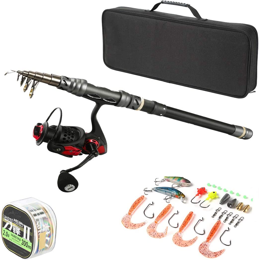 New Free Sale Shipping ROPHAL Spinning Rod and Reel Combos Fi Carbon - Fiber Telescopic