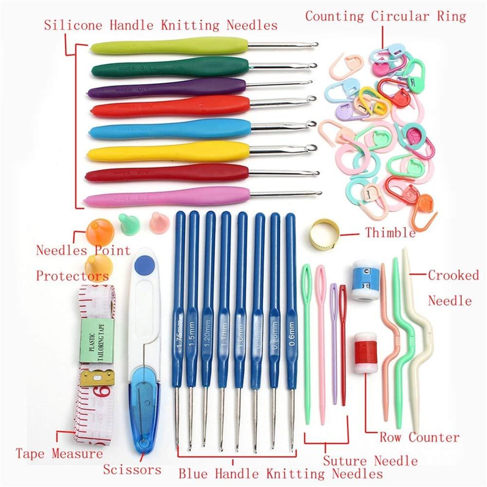 Case 56 x Crochet Hook Kit Yarn Weave Knitting Needle Clip Marker Tool set