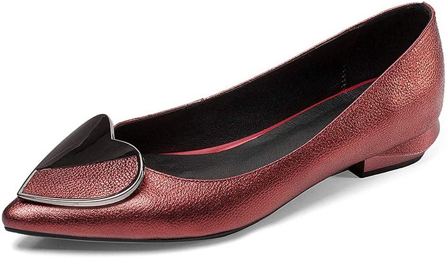 AN Womens Square Heels Pointed-Toe Cow Leather Pumps shoes DGU00909