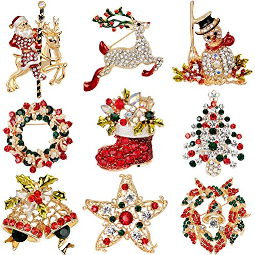 Buytra 9 Pack Multi-Colored Rhinestone Crystal Christmas Brooch Pin Set for Christmas Decorations Ornaments Gifts Including-Christmas Tree,Santa Claus,Snowman,Jingle Bells,Star,Garland,Reindeer