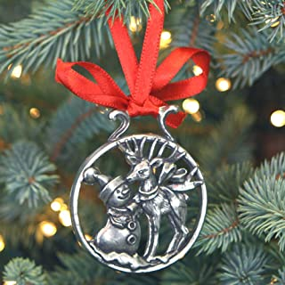 English Pewter Company 'Snowman & Rudolph' Luxury Pewter Christmas Tree Decoration Pendant Baubles Ornament [CHR002]