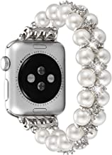 fastgo Compatible with Apple Watch Band 38mm 40mm 42mm 44mm, Women Girls Fancy Handpicked Artificial Pearl Elastic Stretch Bracelet Jewelry Wristband Compatible with Iwatch Series 5/4/3/2/1
