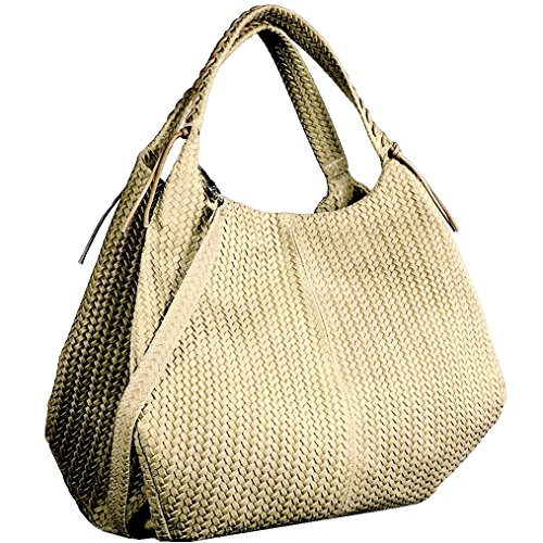DEEP ROSE Borsa in Vera Pelle Donna Made in Italy a spalla mano shopper pelle BAG MODELLO EDI borsa da giorno capiente (beige)
