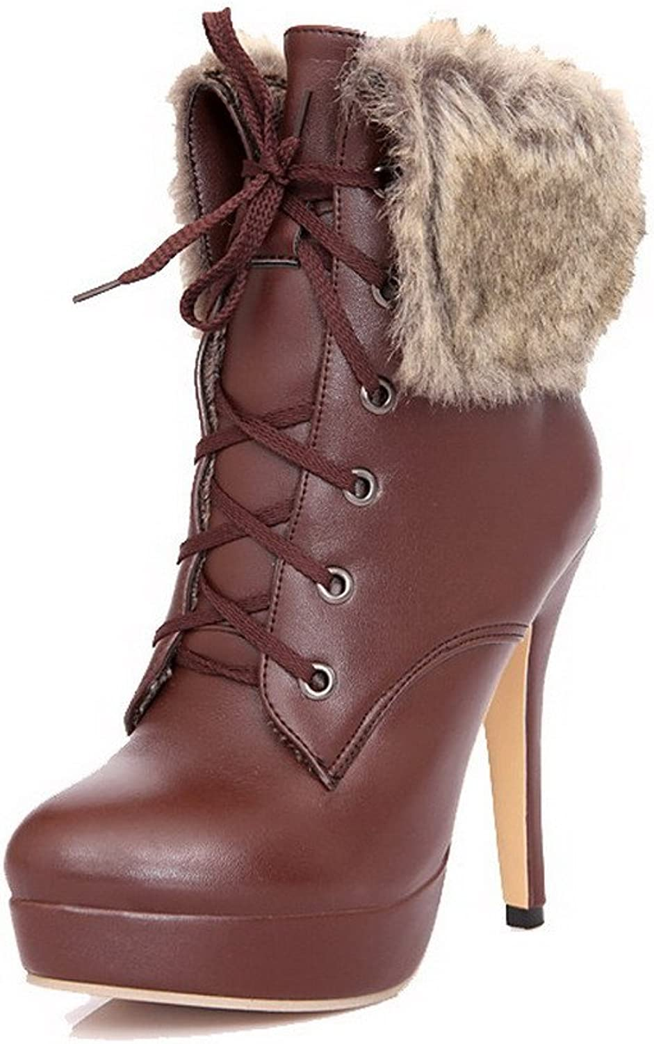 WeenFashion Women's Soft Material Lace up Round Closed Toe High-Heels Low-top Boots