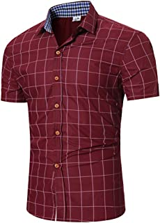8b76b77562d31 Chemise Homme à Carreaux Manches Courtes Slim Fit Infroissable sans  Repassage Pas Cher T Shirt De