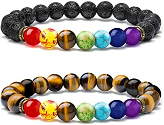 Chakra Bead Bracelets - 8mm Natural Lava Rock Stones Beads Bracelets, Men Stress Relief Yoga Beads Aromatherapy Essential Oil Diffuser Bracelets 7 Chakras Anxiety Bracelet for Women