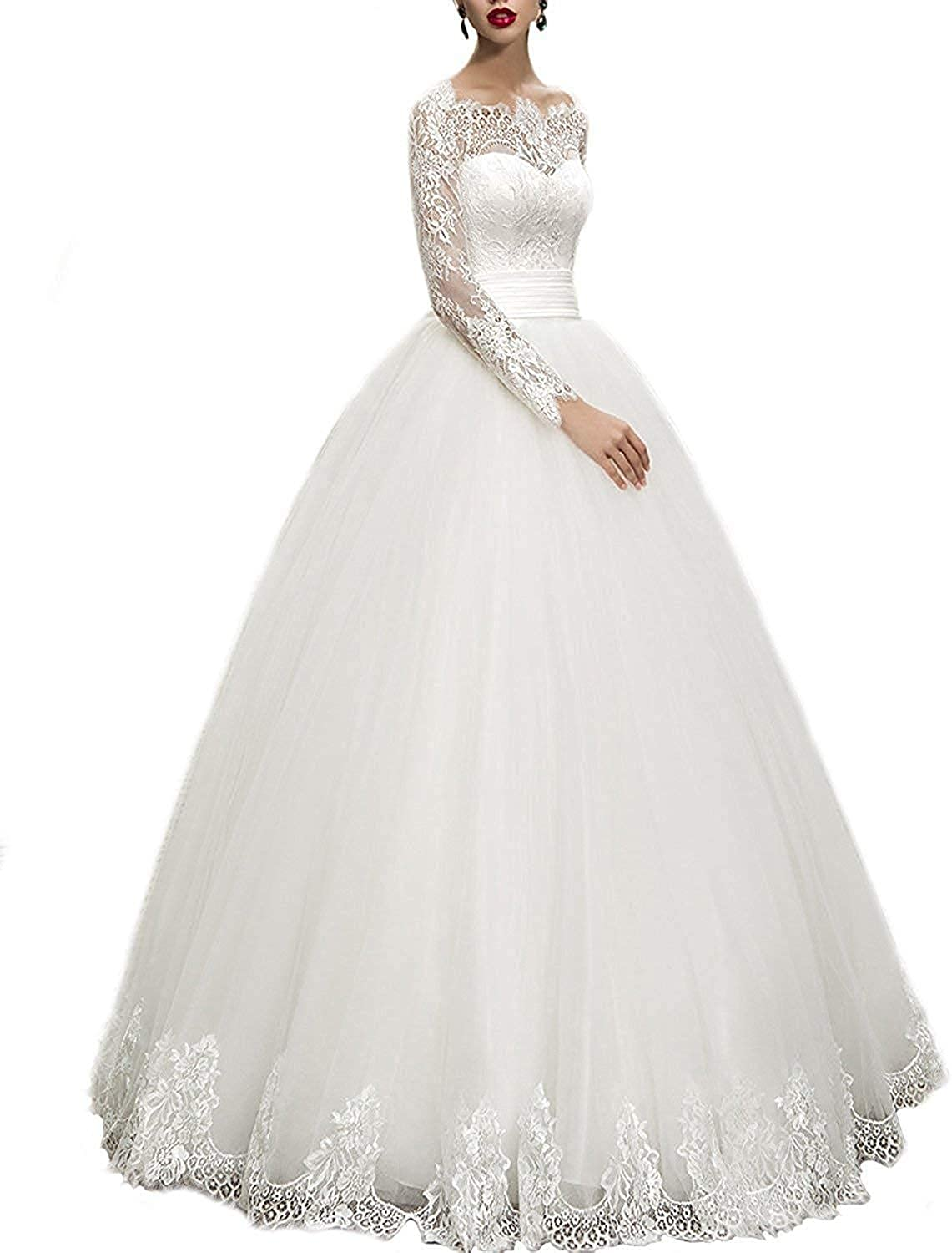 RYANTH Women's Long Lace Sleeves Wedding Dress for Bride 2019 Sweetheart Bridal Ball Gown RWD54