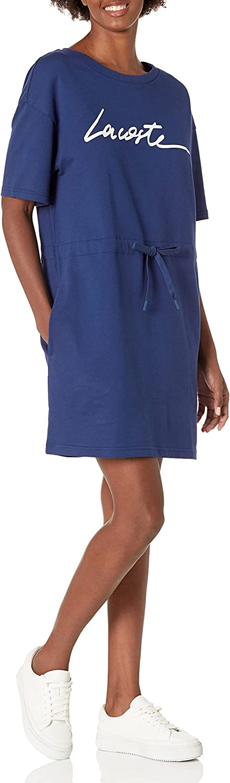 Lacoste Women's Short Sleeve Script T-Shirt Dress