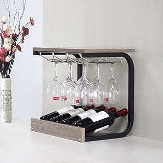 Llpeng Estantería de Vino Amueblado Rack cáliz Estante invertido Vino Solid Wood House Estante del Vino 43.5X31x39.8Cm