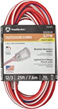 Southwire 2547SWUSA1 25-Feet, Contractor Grade, 12/3, Lighted End Red White and Blue, American Made Extension Cord, Indoor...