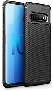 HEYUS for Samsung Galaxy S10 Plus Case, Protective Carbon Fiber Case Cover Compatible with Samsung Galaxy S10 Plus Lightwe...