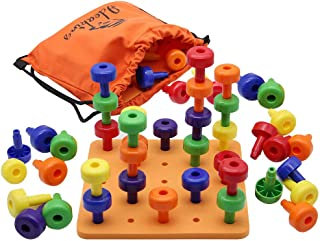 MorTime Stacking Peg Board Set Toy - Pegboard Pattern Cards Games Montessori Occupational Therapy Early Learning, Includes 30 Plastic Pegs & 1 Board